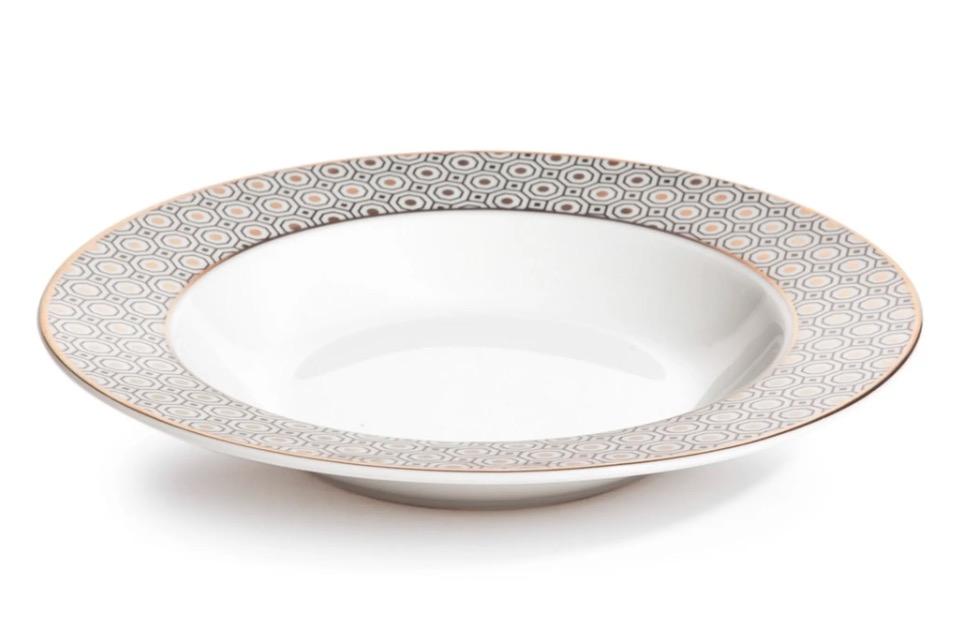 Plato hondo de porcelana blanco/dorado (lote de 2)