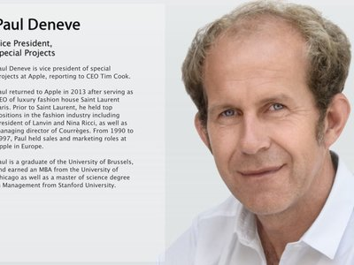 Más movimientos en la directiva de Apple: Paul Deneve, jefe de proyectos especiales, pasa a las órdenes de Jeff Williams