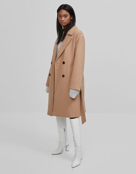 Abrigo lana cinturón