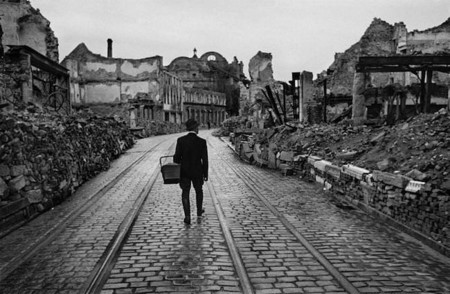 A Man Walking Through The Destroyed City Looking For Food In Freiburg Im Breisgau 1945 Werner Bischof Magnum Photos