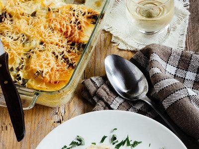 Gratín de patata con queso Raclette. Receta