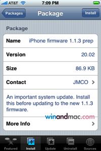 Una supuesta utilidad para instalar el firmware 1.1.3 en el iPhone es en realidad código malicioso