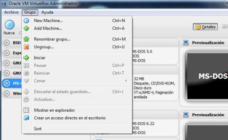 VirtualBox 4.2 agrupación de máquinas virtuales