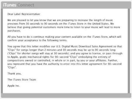 Apple alarga la preview de las canciones hasta los 90 segundos