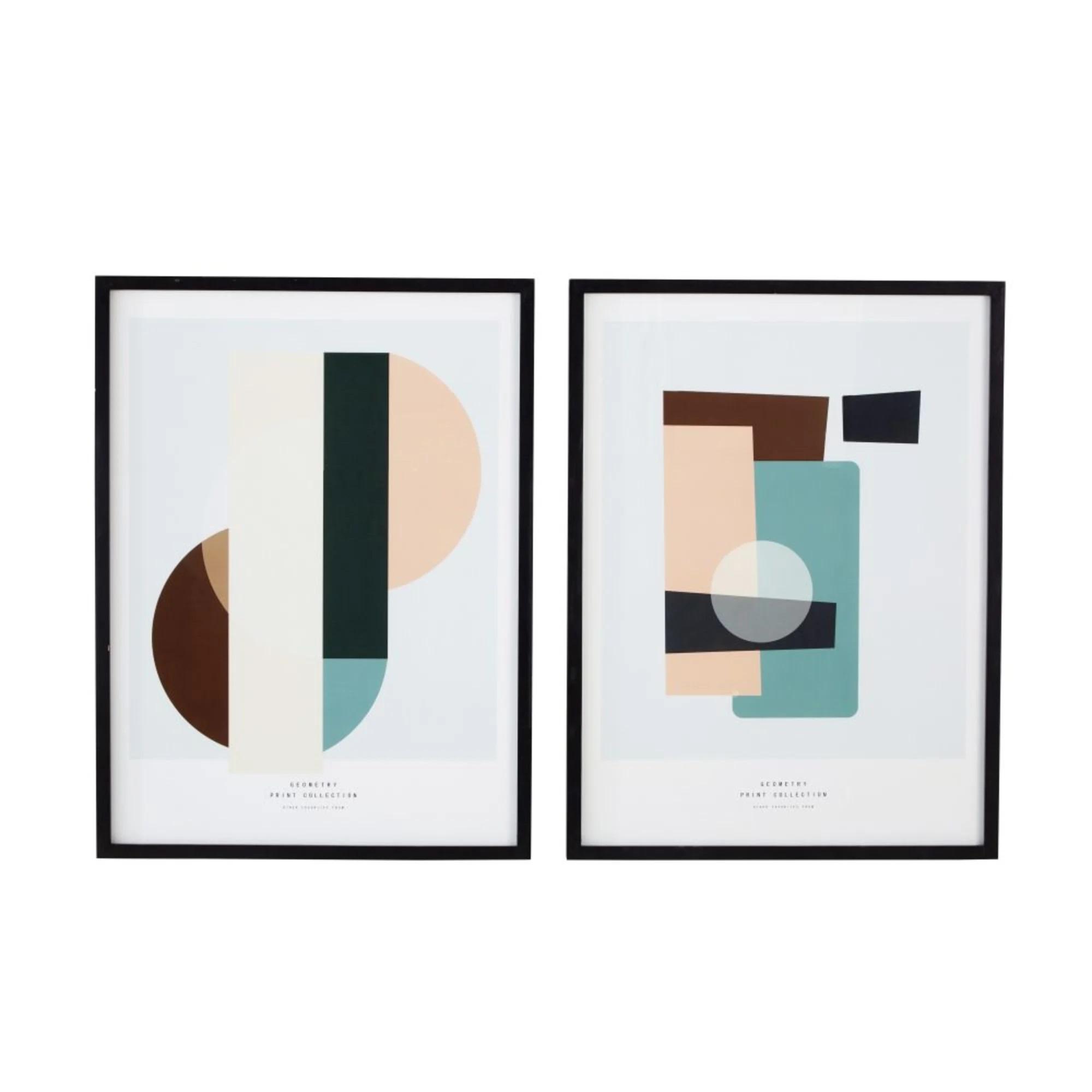 Set de dos ilustraciones de letras geométricas