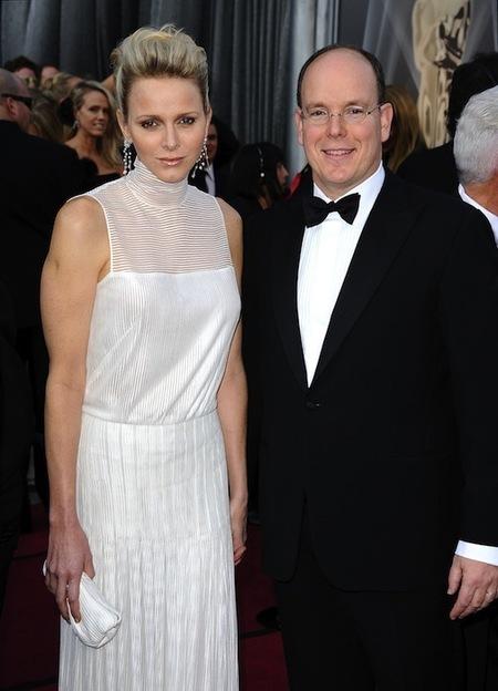 Charlene Wittstock y Alberto de Mónaco en los Oscar 2012