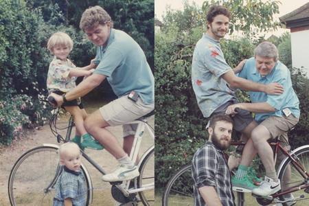 Dos hermanos recrean las fotos de su infancia unos cuantos años después