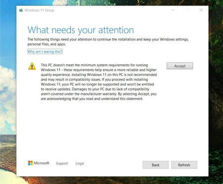 Microsoft publica un aviso al instalar Windows 11 en PC's no compatibles: dejará de estar cubierto por la garantía del fabricante