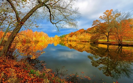 Lake Autumn Nature Landscape Reflection Trees Sky 1920x12005