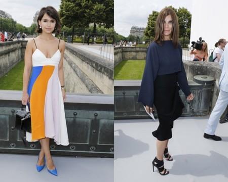 Miroslava Duma y Carine Roitfield en la semana de la moda de Madrid