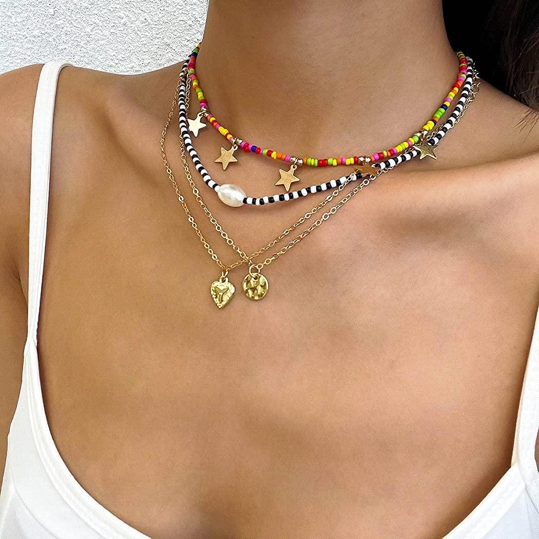 Ushiny Boho Collares con cuentas en capas Collares con colgante de corazón de estrella dorada Collar de perlas Joyería de cadena para mujeres y niñas