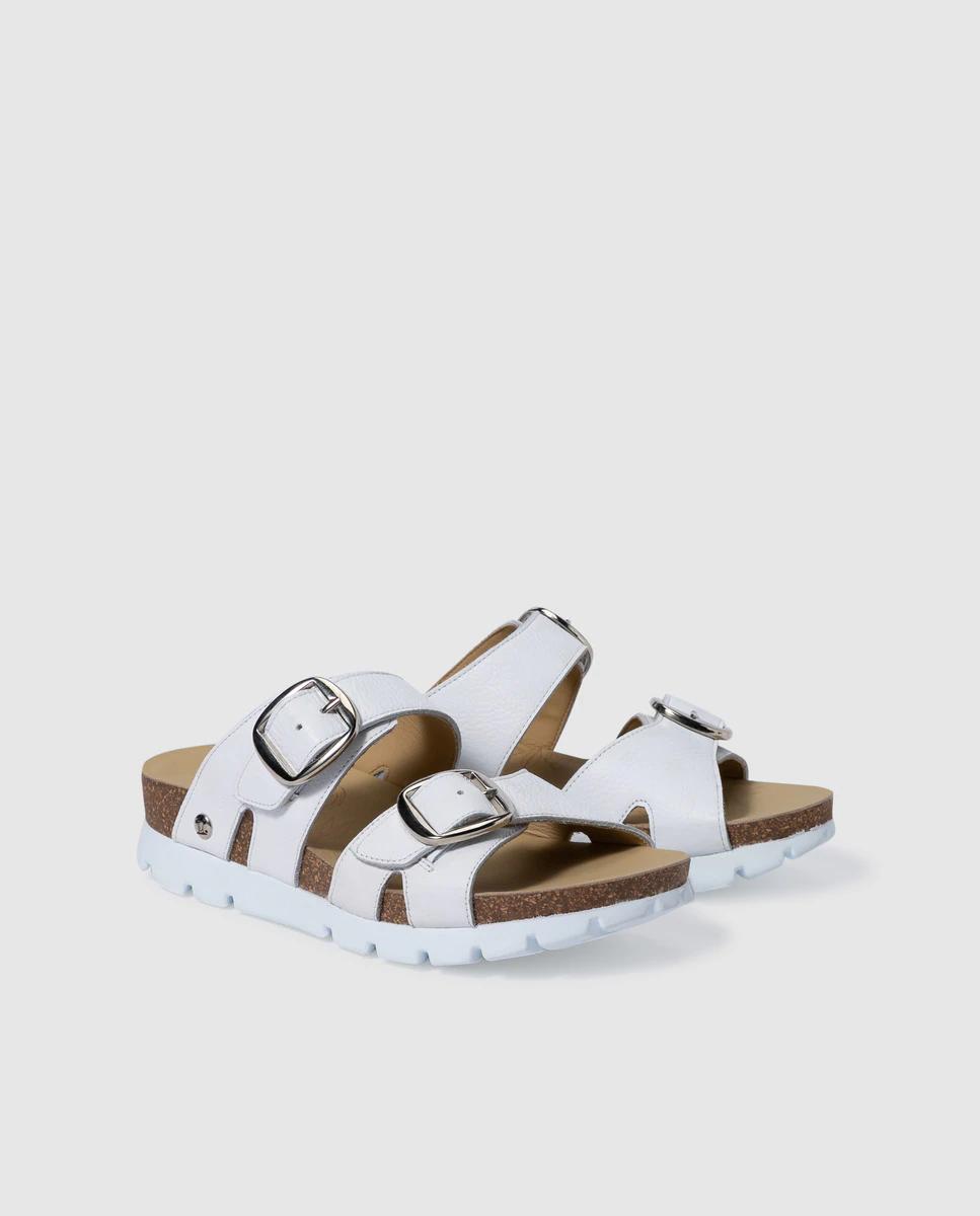 Sandalias de plataforma de mujer Panama Jack en blanco con doble hebilla