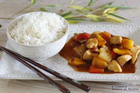 Receta de pollo al estilo asiático, agridulce con piña