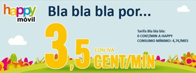 Happy Móvil estrena tarifa para los que se resisten a contratar Internet, 3.5 cénts/minuto