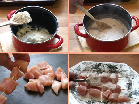 brochetas de pollo con salsa satay pasos