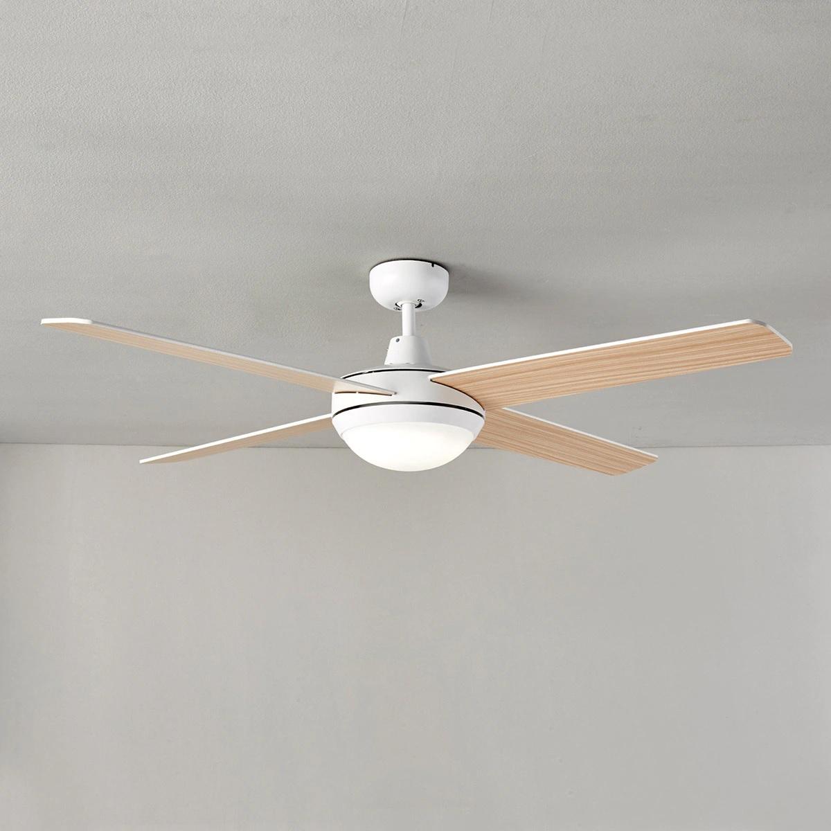 Ventilador de techo con luz LED y aspas reversibles en blanco y madera DC Dominicana El Corte Inglés