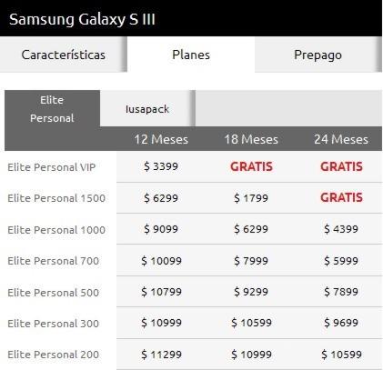 Costo Samsung Galaxy S3 en planes Iusacell Elite Personal
