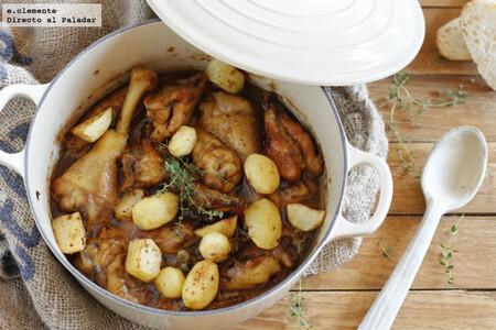 Pitu de caleya con patatinas: receta asturiana de guiso de pollo con patatas