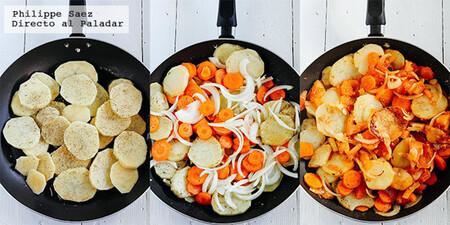 Salteado de papas con verduras al comino. Receta fácil de comida vegetariana