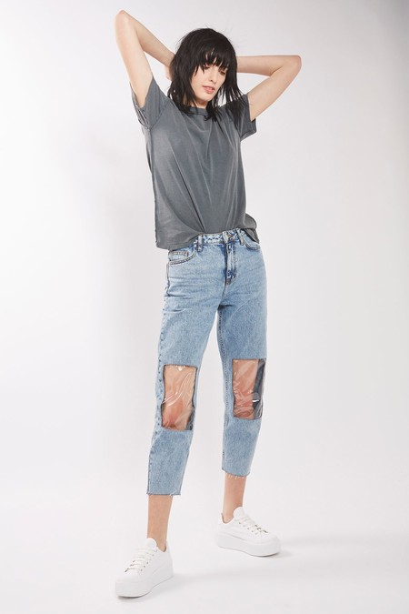 Clear Mom Knee Jeans