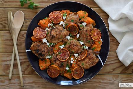 Pollo con naranja sanguina y boniato