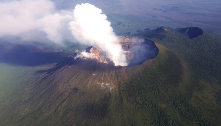 An Aerial View Of The Towering Volcanic Peak Of Mt Nyiragongo