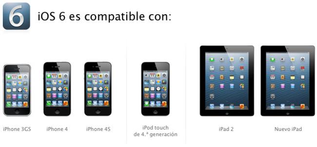 iOS 6 es compatible con