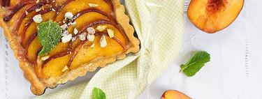 Tarta de melocotón y crema, receta de verano