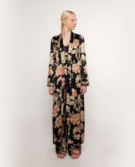 Bata Larga De Mujer Marfil Con EncajeBata de mujer con estampado florar de manga larga