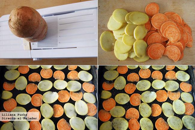Chips bicolores de patata y boniato. Pasos