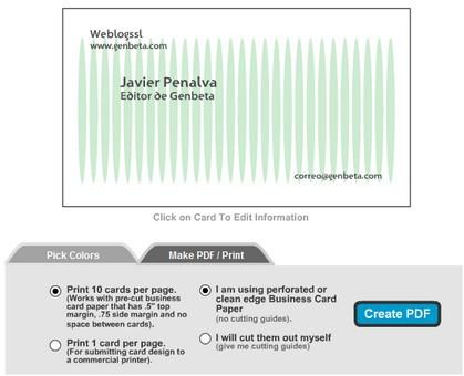Businesscardland, para hacer tus propias tarjetas de visita