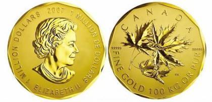 La moneda de oro más grande del mundo a subasta