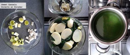 Preparación sopa de espinacas