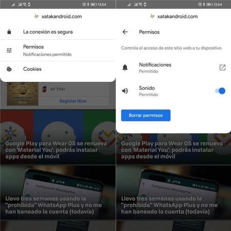 Permisos Chrome Android