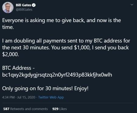 Captura de la cuenta de Bill Gates tras el ciberataque