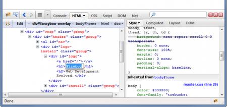 Panel HTML de Firebug