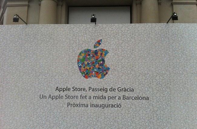 apple store barcelona paseo gracia muro modernista tienda