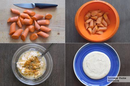 Zanahorias con arándanos sobre salsa de yogur especiada. Pasos