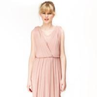 vestido plisado kling rosa