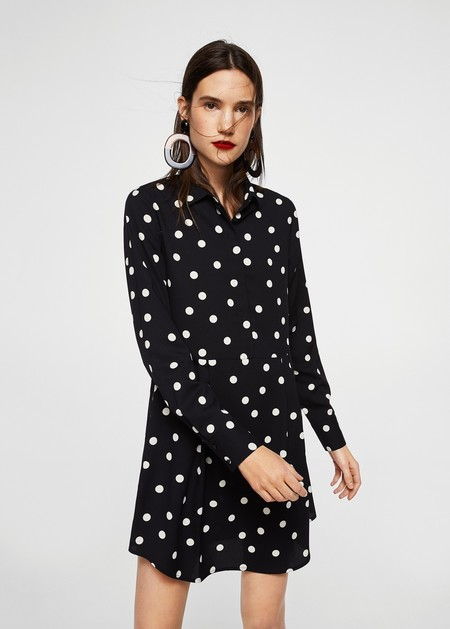 Vestido blanco con lunares negro