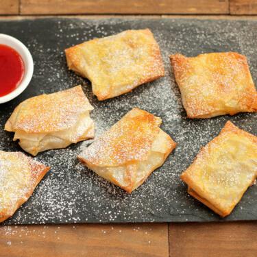 Sobres crujientes de pera en compota, receta fácil y rápida para el postre