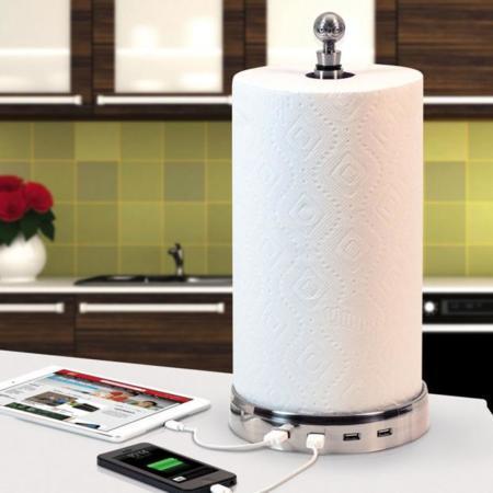 TowlHub, un sostenedor de toallas de papel con puertos USB