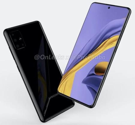 El Samsung Galaxy A51 se filtra en renders, dejando ver unos biseles mínimos y un agujero en pantalla