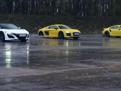 Chris Harris nos propone un trío: Honda NSX vs Audi R8 V10 vs Porsche 911 Turbo