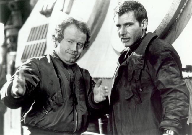 Ridley Scott con Harrison Ford en el rodaje de la original Blade Runner