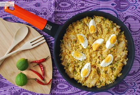 Arroz Al Curry Con Bacalao Y Huevo
