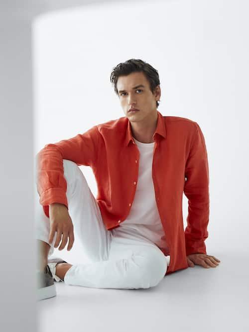 Camisa lino 100% tintado corte fit
