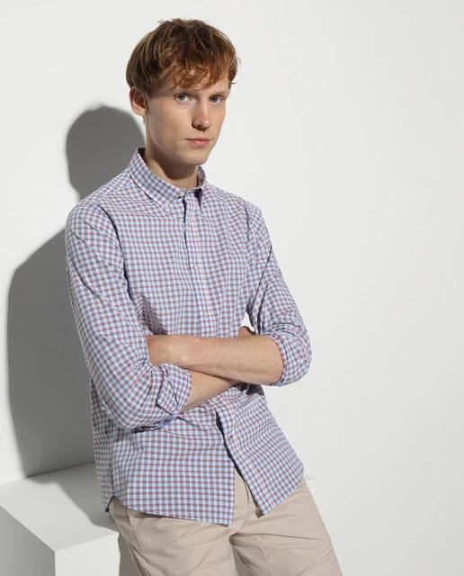 Camisa Fácil Plancha de hombre slim de cuadros naranja