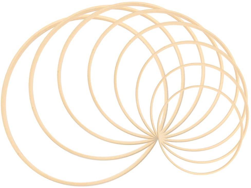 Sntieecr Juego de aros de madera de bambú para manualidade, 8 piezas, 8 tamaños, para decoración de coronas, atrapasueños y manualidades (7.5cm/10cm/12.5cm/15cm/17.5cm/20cm/22.5cm/25cm)