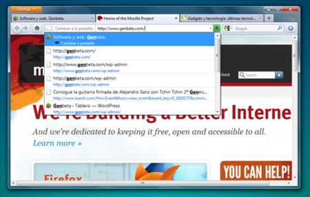 Firefox permite cambiar de pestaña a través de la barra de direcciones.